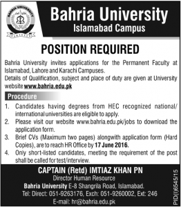 Jobs at Bahria University all campuses