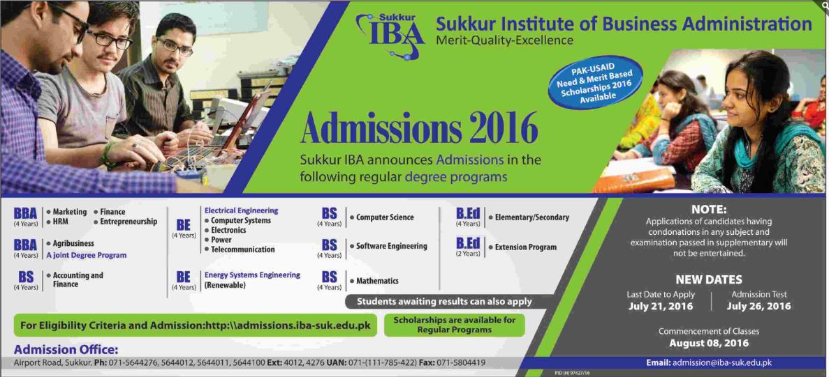 Admissions 2016 Sukkur IBA