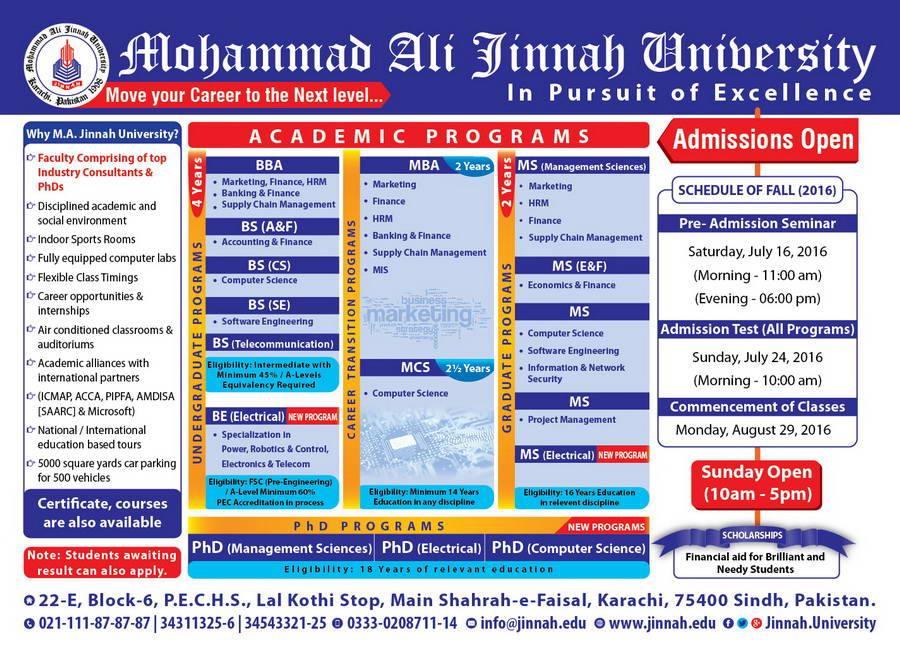 Admissions in Muhammad Ali Jinnah University FALL 2016