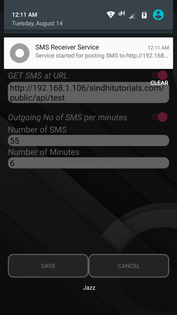 GSM Modem Free SMS Android App - Settings Activity - Service Started