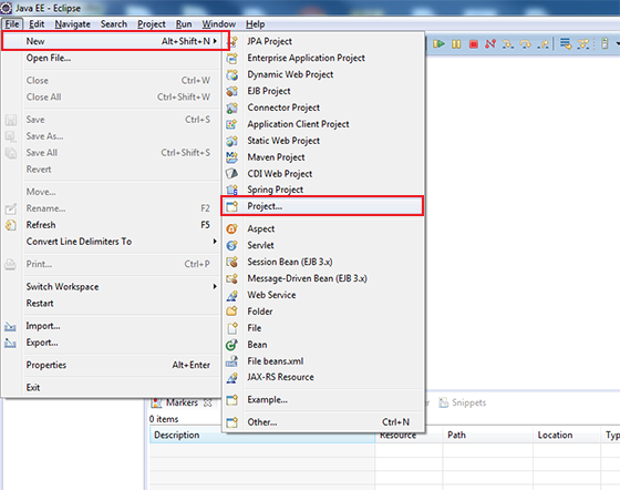 Create New Project In Eclipse