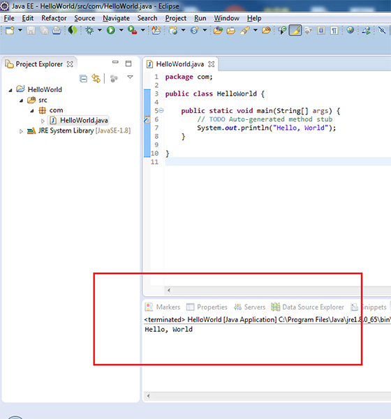 The Output of program in Eclipse console